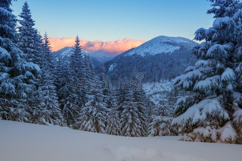 Καταπληκτικό ηλιοβασίλεμα στα χειμερινά βουνά στοκ φωτογραφία
