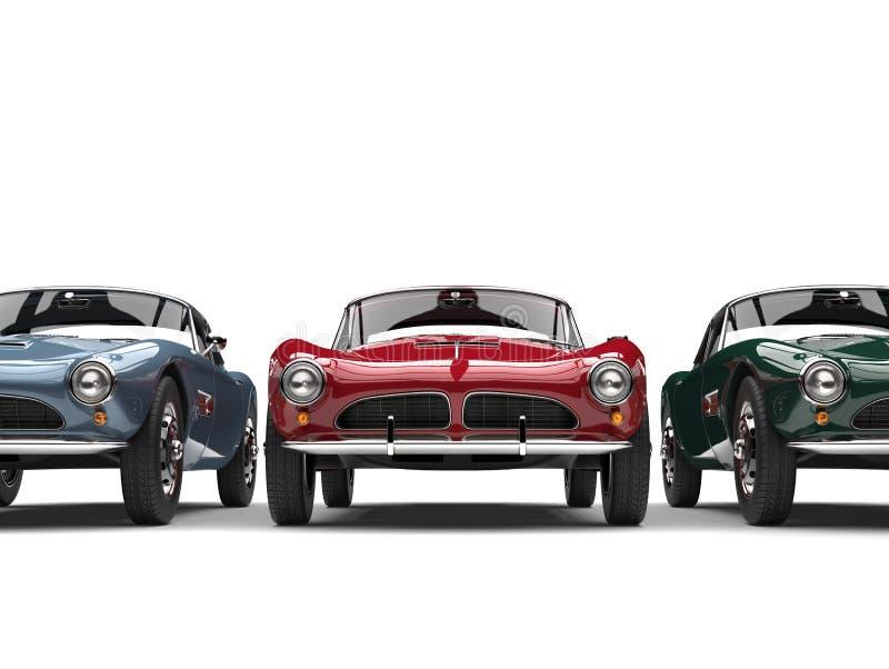Καταπληκτικό κόκκινο εκλεκτής ποιότητας αθλητικό αυτοκίνητο με τα μπλε και πράσινα αυτοκίνητα σε κάθε πλευρά διανυσματική απεικόνιση