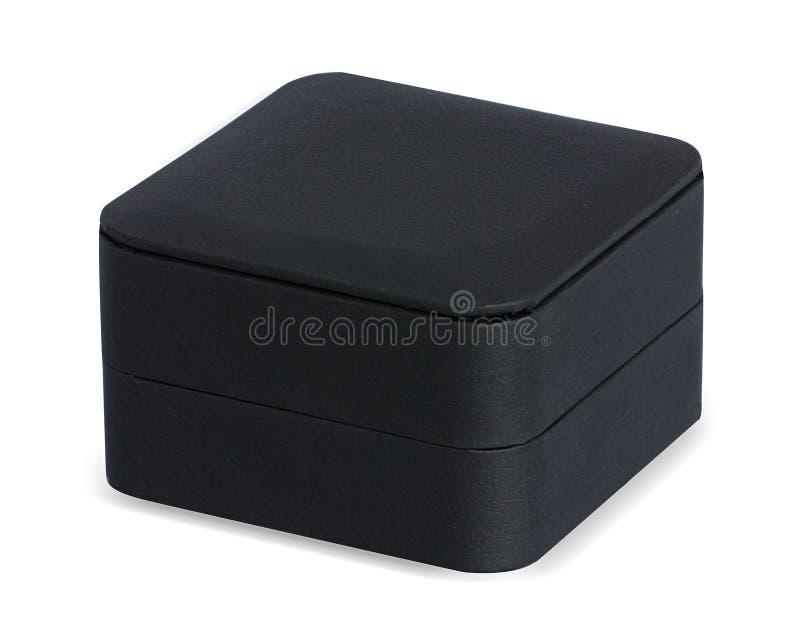 Καταπληκτικό μαύρο κιβώτιο κοσμήματος δέρματος στοκ φωτογραφία με δικαίωμα ελεύθερης χρήσης