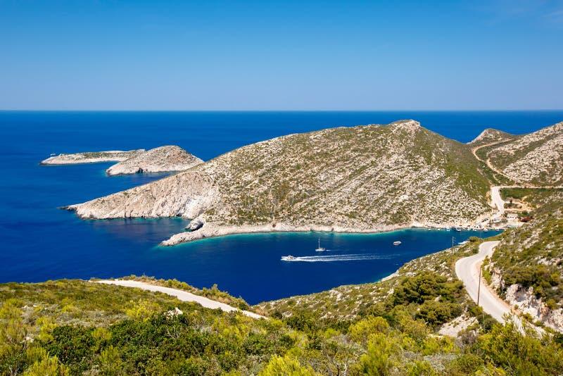 Καταπληκτικό πανόραμα της παραλίας Stenitis στο νησί της Ζάκυνθου, Ελλάδα στοκ εικόνες