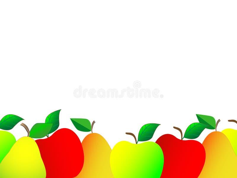 Καταπληκτικό σχέδιο υποβάθρου με τους νωπούς καρπούς όπως τα μήλα και τα αχλάδια διανυσματική απεικόνιση