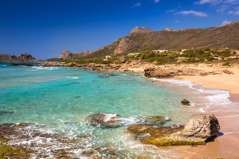 Καταπληκτικό τοπίο της παραλίας Falassarna στην Κρήτη, Ελλάδα στοκ εικόνα
