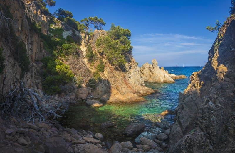 Καταπληκτικό τοπίο του κόλπου θάλασσας στη Μεσόγειο τη σαφή ηλιόλουστη ημέρα Δύσκολη ακτή, δέντρα και τυρκουάζ νερό στη θάλασσα Ά στοκ φωτογραφίες