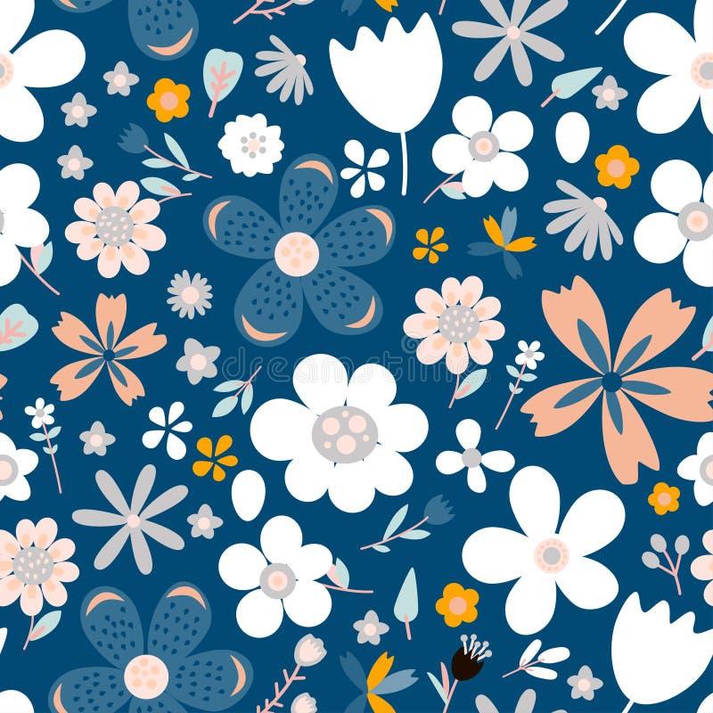 Καταπληκτικό floral διανυσματικό άνευ ραφής σχέδιο των λουλουδιών απεικόνιση αποθεμάτων