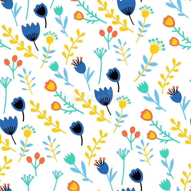 Καταπληκτικό floral διανυσματικό άνευ ραφής σχέδιο των λουλουδιών ελεύθερη απεικόνιση δικαιώματος