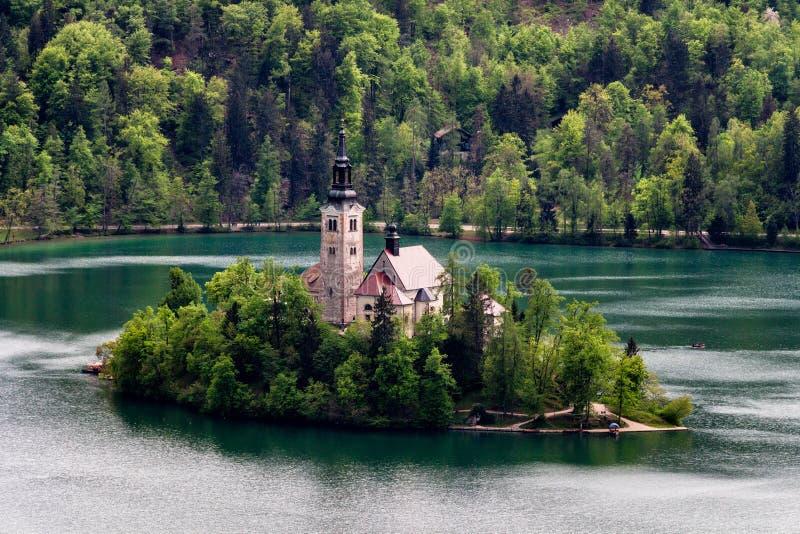 Καταπληκτική άποψη σχετικά με την αιμορραγημένα λίμνη, το νησί, την εκκλησία και το Castle με Mountai στοκ εικόνα