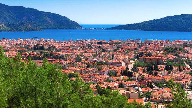 Καταπληκτική τοπ άποψη σχετικά με το θέρετρο Marmaris Τουρκία στοκ φωτογραφία με δικαίωμα ελεύθερης χρήσης