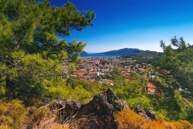 Καταπληκτική τοπ άποψη σχετικά με το θέρετρο Marmaris Τουρκία στοκ εικόνες