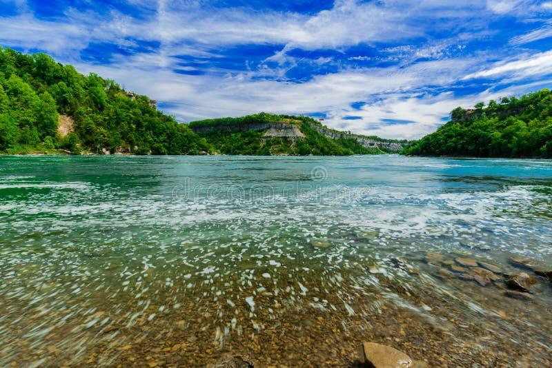 Καταπληκτική φυσική άποψη τοπίων του ποταμού γκρεμών πτώσεων Niagara και του υποβάθρου μπλε ουρανού στοκ εικόνες