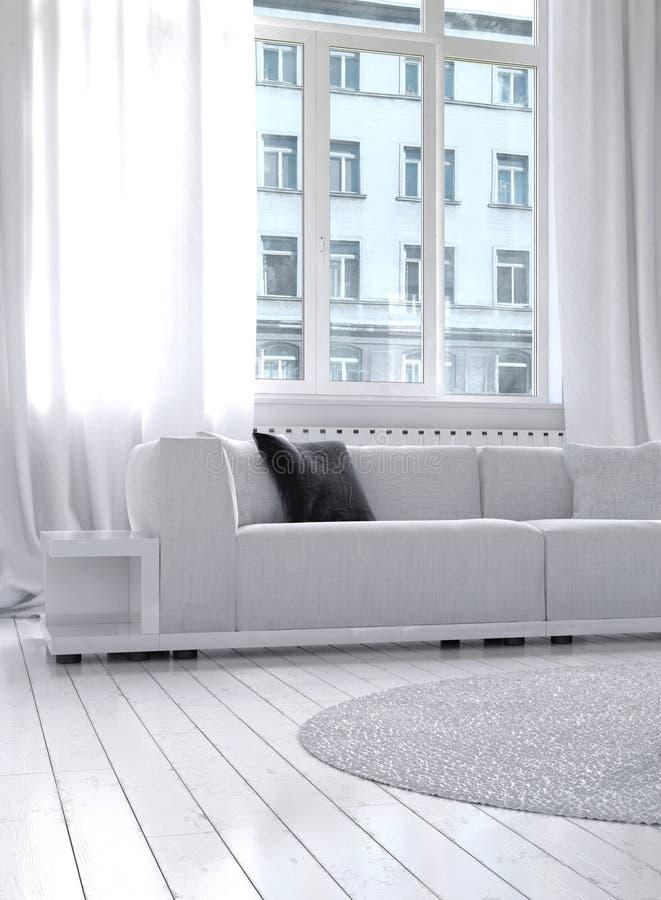 Καταπληκτικό άσπρο εσωτερικό καθιστικών σοφιτών απεικόνιση αποθεμάτων