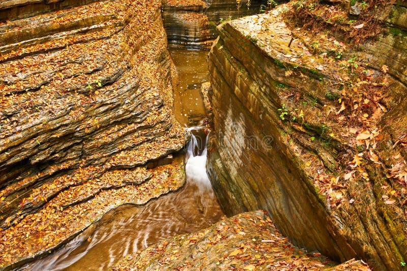 Καταρράκτης σπηλιών στο κρατικό πάρκο Watkins Glen στοκ εικόνες
