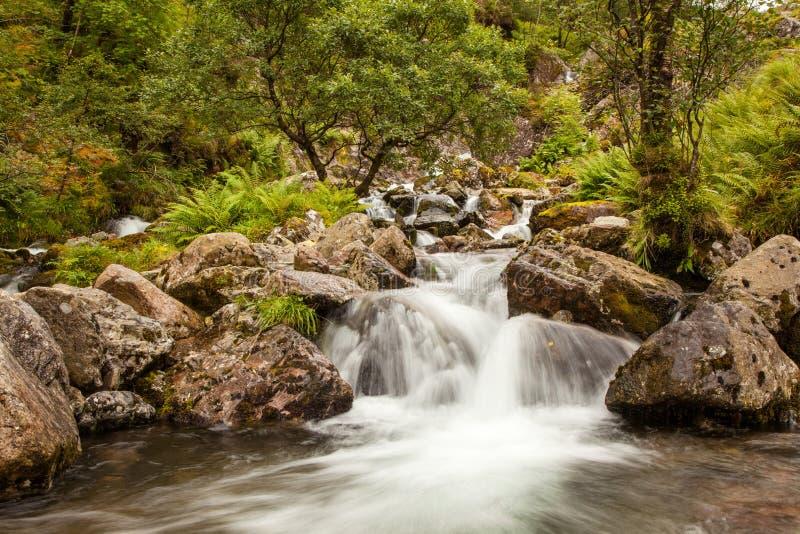 Καταρράκτης στην κοιλάδα του Glen Coe στοκ εικόνα