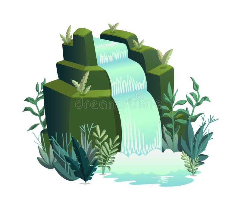 Καταρράκτης Τοπία κινούμενων σχεδίων με τα βουνά, τα δέντρα και τους Μπους ελεύθερη απεικόνιση δικαιώματος