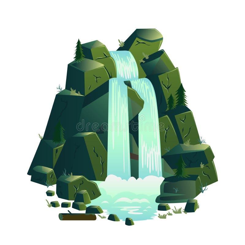 Καταρράκτης Τοπία κινούμενων σχεδίων με τα βουνά και τα δέντρα έλατου απεικόνιση αποθεμάτων