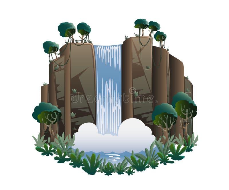 Καταρράκτης Τοπίο κινούμενων σχεδίων με τα βουνά, τα δέντρα και τους Μπους διανυσματική απεικόνιση