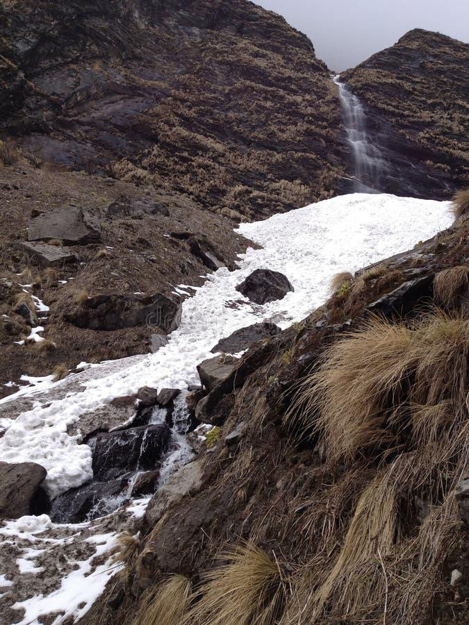 Καταρράκτης χιονιού στο στρατόπεδο βάσεων Annapurna - Νεπάλ στοκ εικόνα με δικαίωμα ελεύθερης χρήσης