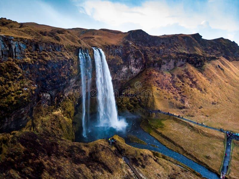 Καταρράκτης Seljalandsfoss κατά τη διάσημη εναέρια άποψη της Ισλανδίας στοκ φωτογραφία με δικαίωμα ελεύθερης χρήσης