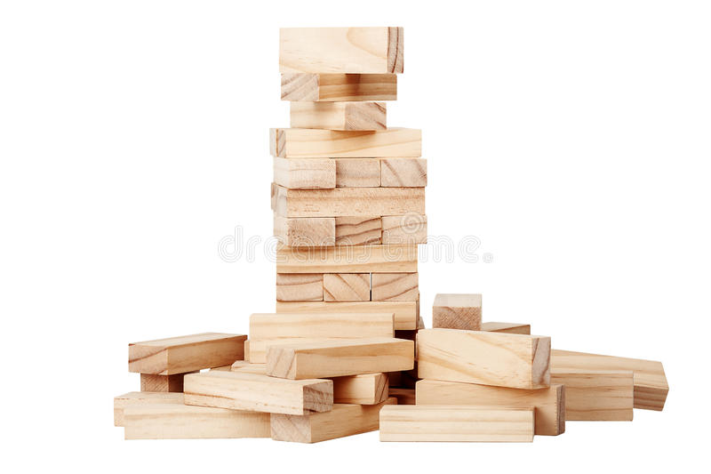 καταρρεσμένος ομάδες δεδομένων πύργος ξύλινος στοκ εικόνες