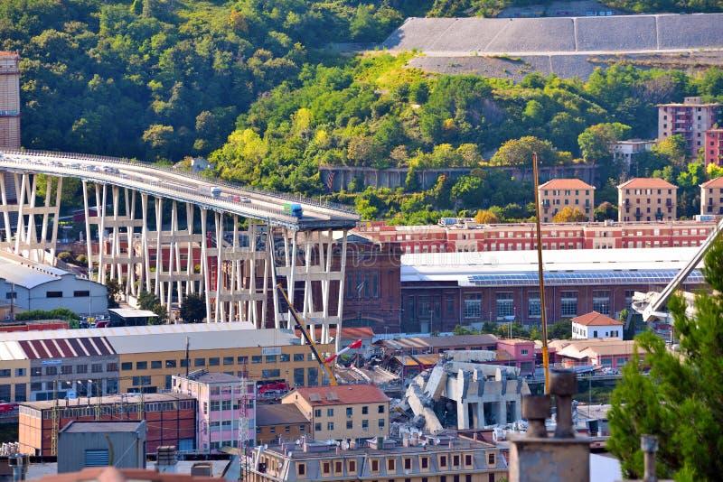 Καταρρεσμένο Ponte Morandi Γένοβα Ιταλία στοκ εικόνα