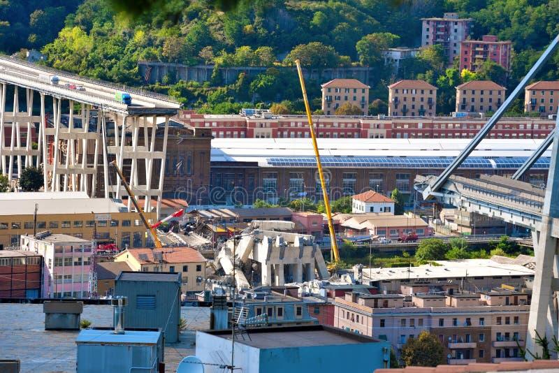 Καταρρεσμένο Ponte Morandi Γένοβα Ιταλία στοκ εικόνες