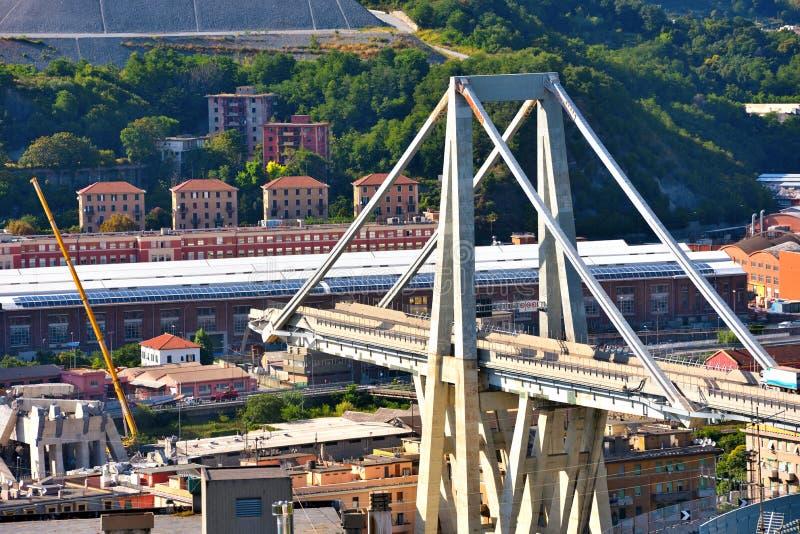 Καταρρεσμένο Ponte Morandi Γένοβα Ιταλία στοκ εικόνες με δικαίωμα ελεύθερης χρήσης