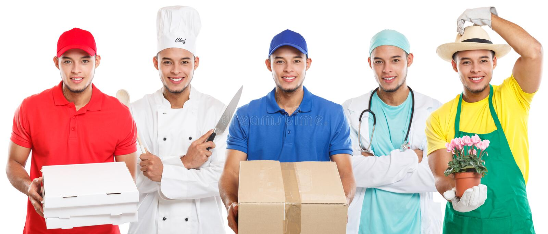 Καταρτιίδα ομάδα μαγείρων γιατρών επαγγέλματος εκπαίδευσης επαγγέλματος επαγγελμάτων λατινικής εργασίας ατόμων νέων που απομονώνε στοκ φωτογραφία με δικαίωμα ελεύθερης χρήσης