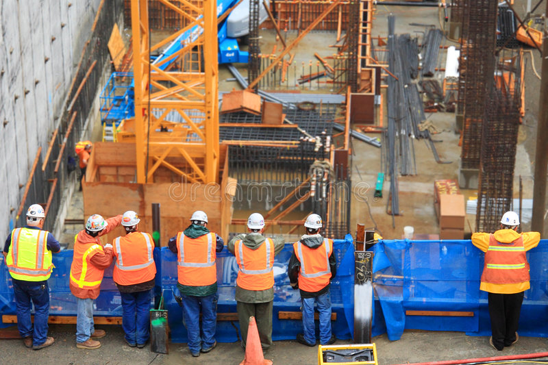 κατασκευή επτά εργαζόμενοι στοκ φωτογραφία με δικαίωμα ελεύθερης χρήσης