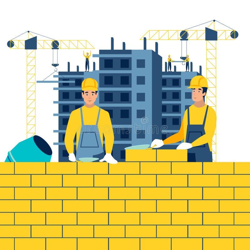 Κατασκευή, εργασιακό περιβάλλον Οικοδόμοι στην εργασία Στο μινιμαλιστικό επίπεδο διάνυσμα κινούμενων σχεδίων ύφους απεικόνιση αποθεμάτων