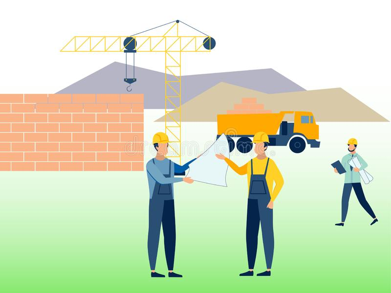 Κατασκευή, εργασιακό περιβάλλον Οικοδόμοι στην εργασία Στο μινιμαλιστικό επίπεδο ράστερ κινούμενων σχεδίων ύφους απεικόνιση αποθεμάτων