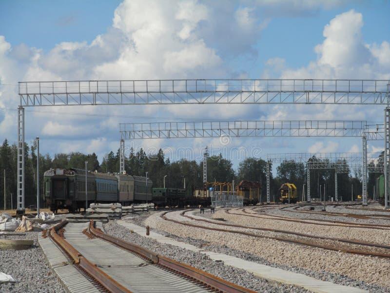 Κατασκευή, μεταφορά, που στέλνει, railfreight, σιδηρόδρομος στοκ φωτογραφίες