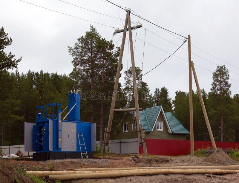 Κατασκευή της γραμμής υποσταθμών και μετάδοσης μετασχηματιστών στοκ φωτογραφίες