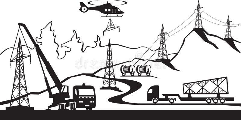 Κατασκευή της ηλεκτρικής γραμμής μετάδοσης ελεύθερη απεικόνιση δικαιώματος