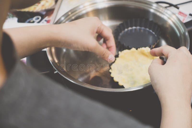 Κατασκευή της κρούστας πιτών frypan στοκ εικόνα με δικαίωμα ελεύθερης χρήσης