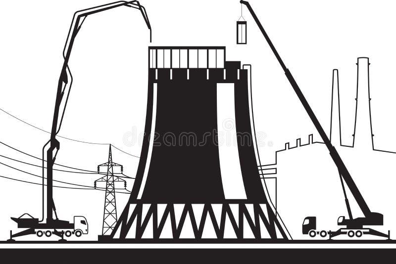 Κατασκευή του δροσίζοντας πύργου στις εγκαταστάσεις παραγωγής ενέργειας διανυσματική απεικόνιση