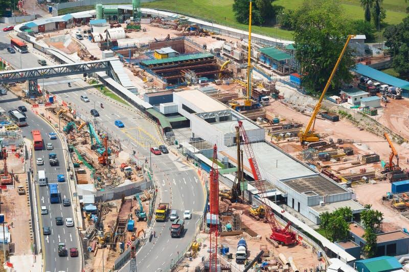 κατασκευή τούβλων που βάζει υπαίθρια την περιοχή εναέρια όψη Σιγκαπούρη στοκ εικόνες