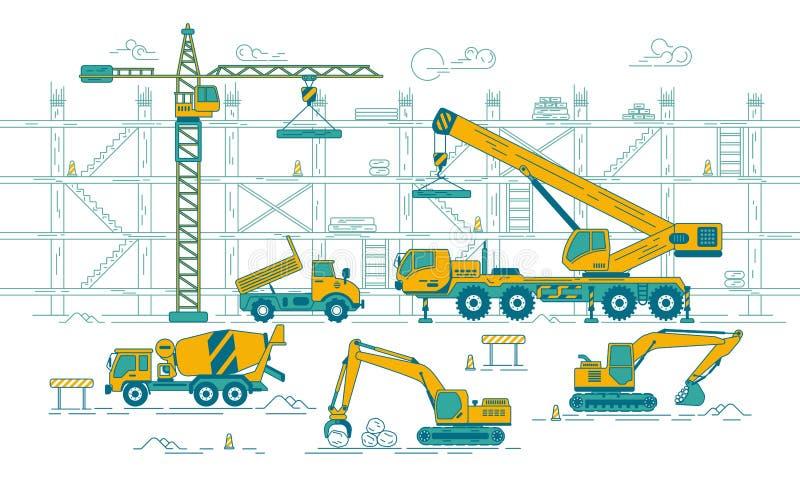 κατασκευή τούβλων που βάζει υπαίθρια την περιοχή ελεύθερη απεικόνιση δικαιώματος