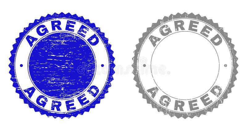 Κατασκευασμένες ΣΥΜΦΩΝΗΘΕΙΣΕΣ γρατσουνισμένες σφραγίδες γραμματοσήμων με την κορδέλλα διανυσματική απεικόνιση