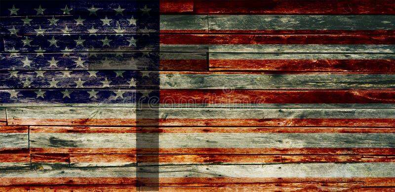 Κατασκευασμένη εξασθενισμένη αμερικανική σημαία με το σταυρό απεικόνιση αποθεμάτων