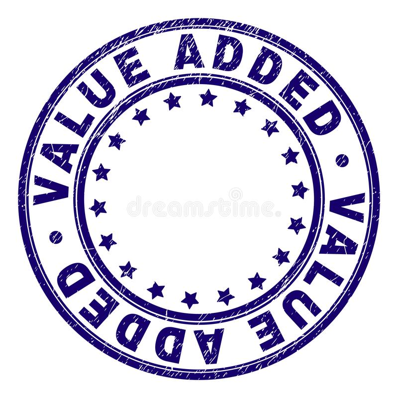 Κατασκευασμένη ΠΡΟΣΤΙΘΕΜΕΝΗΣ ΑΞΊΑΣ στρογγυλή σφραγίδα γραμματοσήμων Grunge διανυσματική απεικόνιση