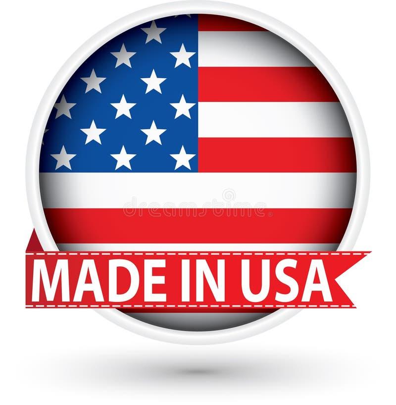 Κατασκευασμένος στις ΗΠΑ άσπρη ετικέτα με τη σημαία, διανυσματική απεικόνιση ελεύθερη απεικόνιση δικαιώματος