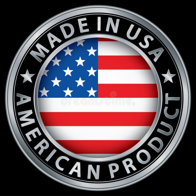 Κατασκευασμένος στις ΗΠΑ αμερικανική ασημένια ετικέτα προϊόντων με τη σημαία ελεύθερη απεικόνιση δικαιώματος