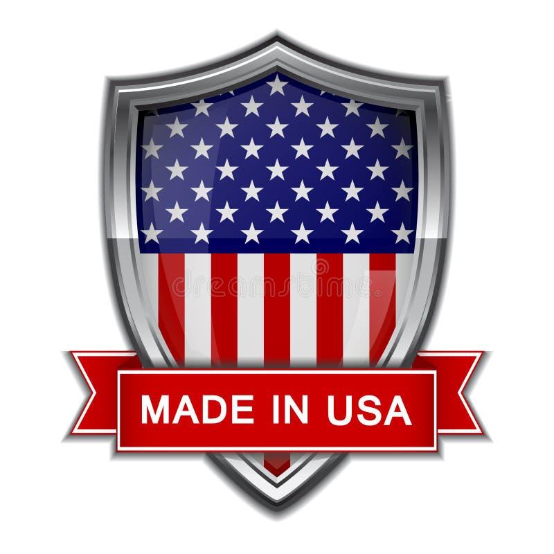 Κατασκευασμένος στις ΗΠΑ. Στιλπνή ετικέτα απεικόνιση αποθεμάτων