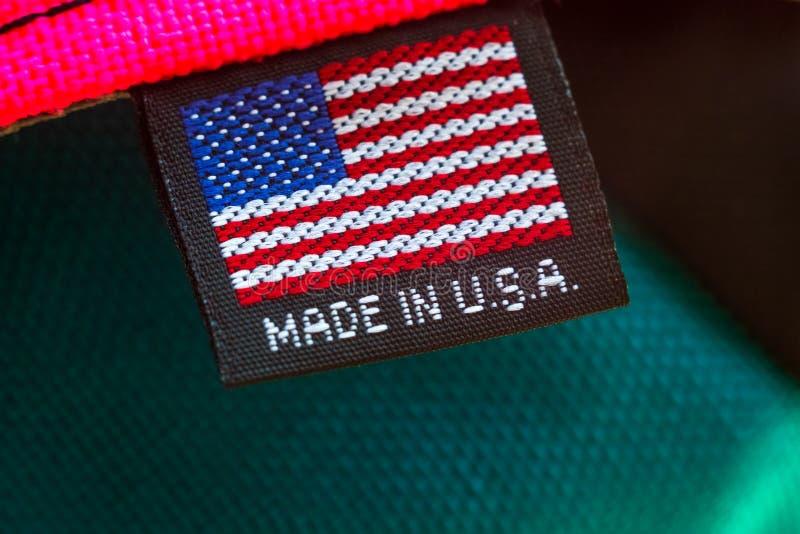 Κατασκευασμένος στις ΗΠΑ υφαντική ετικέττα στοκ φωτογραφία με δικαίωμα ελεύθερης χρήσης