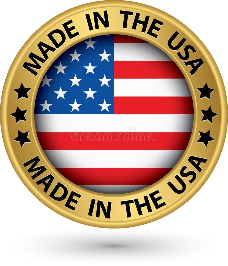 Κατασκευασμένος στις ΗΠΑ χρυσή ετικέτα, διανυσματική απεικόνιση απεικόνιση αποθεμάτων