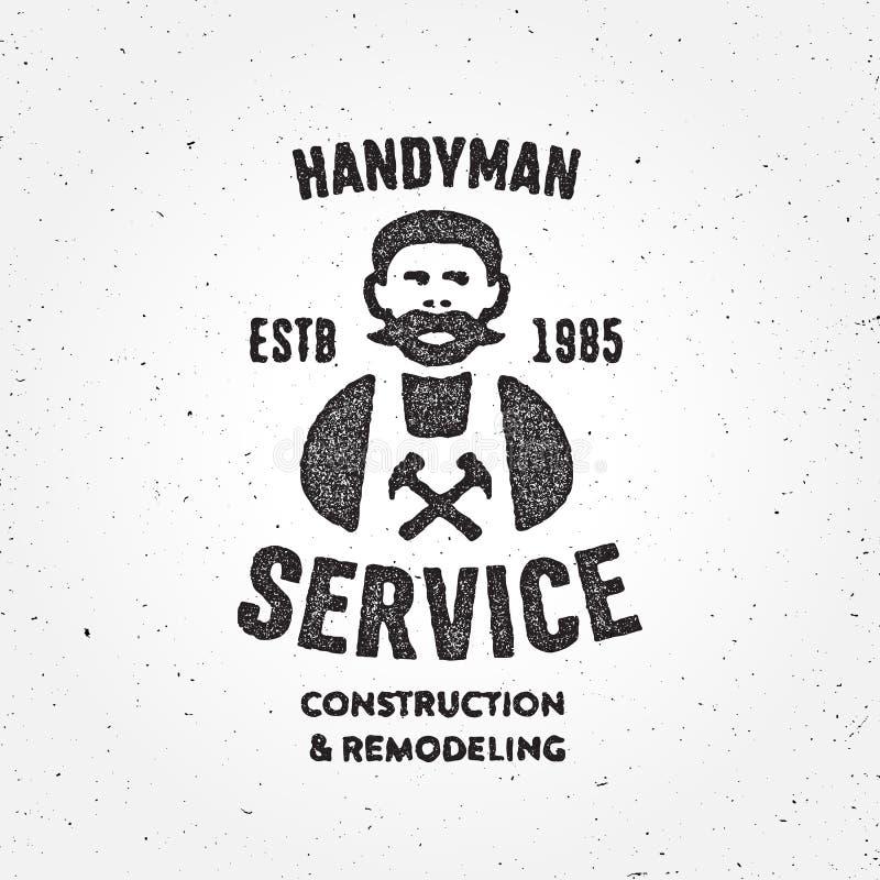 Κατασκευασμένο αναδρομικό Handyman σύμβολο διακριτικών υπηρεσιών ξυλουργών εταιρικό απεικόνιση αποθεμάτων