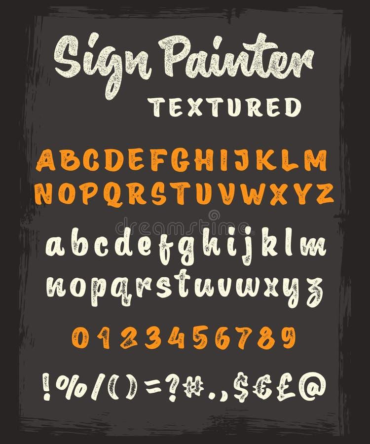 Κατασκευασμένο αλφάβητο χειρογράφων βουρτσών διανυσματική απεικόνιση