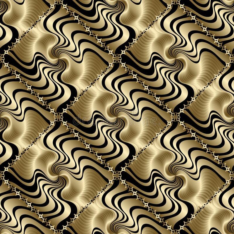 Κατασκευασμένο τρισδιάστατο χρυσό γεωμετρικό άνευ ραφής σχέδιο Διανυσματικό σύγχρονο ornam διανυσματική απεικόνιση