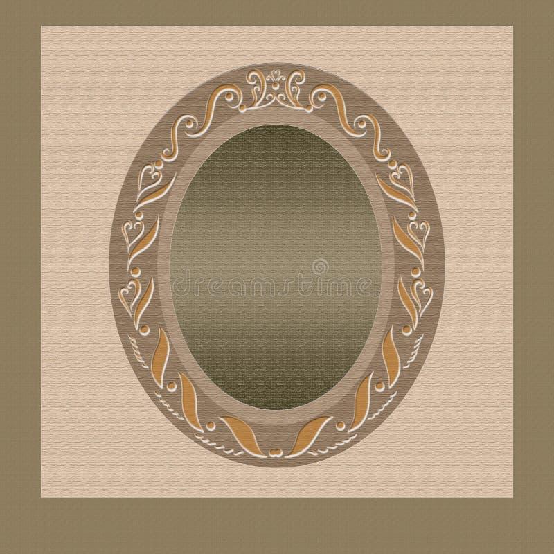 Κατασκευασμένο υπόβαθρο με ένα ωοειδές πλαίσιο με ένα ρομαντικούς σχέδιο, ένα ξύλο και έναν χρυσό απεικόνιση αποθεμάτων