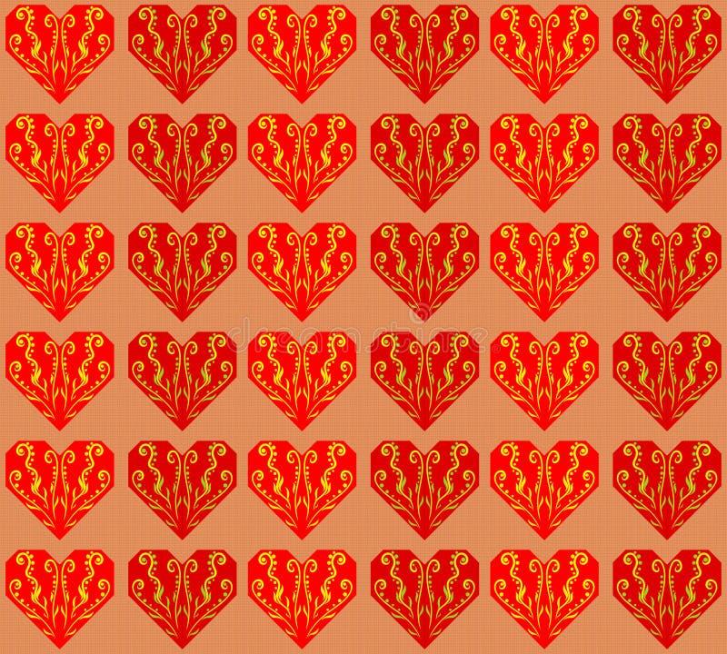 Κατασκευασμένο υπόβαθρο με τις κόκκινες διαμορφωμένες καρδιές origami απεικόνιση αποθεμάτων