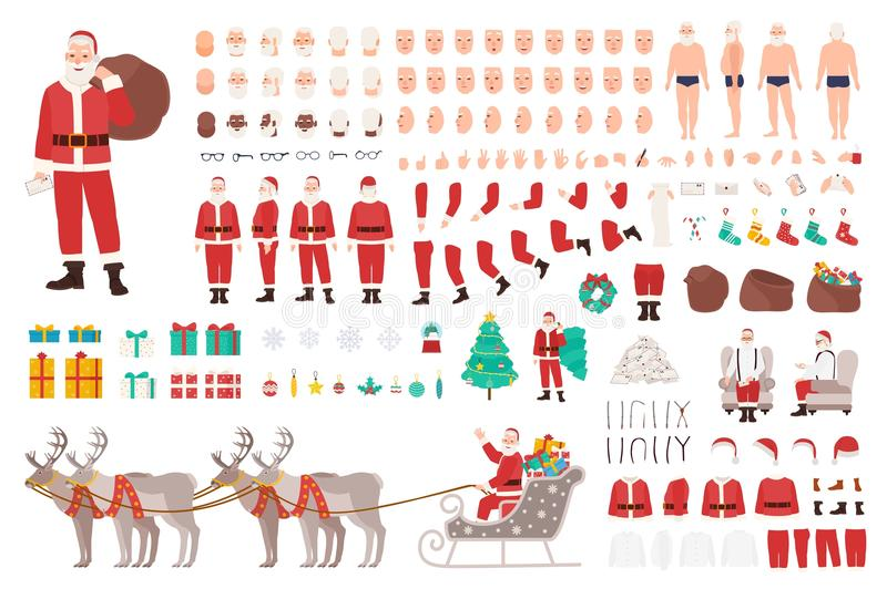 Κατασκευαστής Άγιου Βασίλη ή εξάρτηση DIY Συλλογή των μελών του σώματος χαρακτήρα κινουμένων σχεδίων Χριστουγέννων, ενδύματα, ιδι ελεύθερη απεικόνιση δικαιώματος